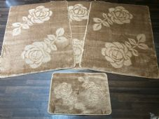 ROMANY GYPSY WASHABLE ROSE FULL SET OF 4 MATS X LARGE 100X140CM BEIGE/BROWN